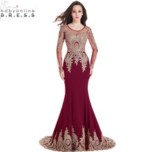 Real Image Cheap Burgundy Long Sleeve Mermaid Lace Prom Dresses 2017 Sexy Sheer Back Evening Party Dress Vestido de Festa Longo(China)