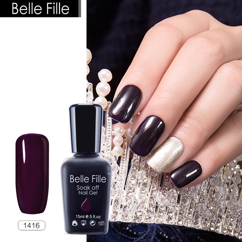 BELLE FILLE UV Gel Nail Polish Soak Nail Gel Bling Long Lasting Cosmetic Art Tool Manicure Nail Polish Gel Color Gel Varnish