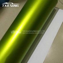 1.52*20m Lime Green Metallic Matt Chrome Car Wrapping PVC Matte Chrome Vinyl Film Foil Car Decoration Film Wrap With Bubble Free(China)