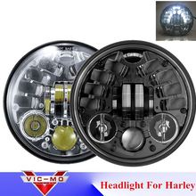 "5.75"" Accessories Harley DRL Cromado Headlight Harley Davidsion Dyna Softail Sportster 883 1200 V-Rod H4 LED Moto Round Headlamp"