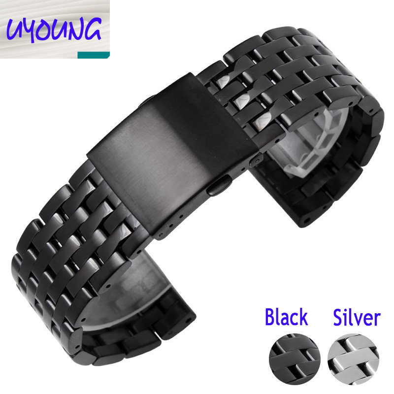 Stainless steel bracelet solid metal watchband watch strap 24 26 28 30mm wristwatches band black silver For DZ watch accessories<br><br>Aliexpress