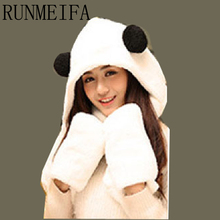 [RUNMEIFA] 2017 new fashion women scarf,hat and glove sets winter hat and scarf set for women Hello Kitty cartoon pattern(China)