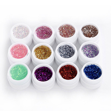 New Natural 12 Color UV Gel Big Glitter Nail Art Products Use UV Lamp For Manicure