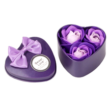 3Pcs/Box Heart-Shaped Rose Soap Flower Romantic Wedding Party Gift Hand Make Flower Petals Decor Valentine gift(China)