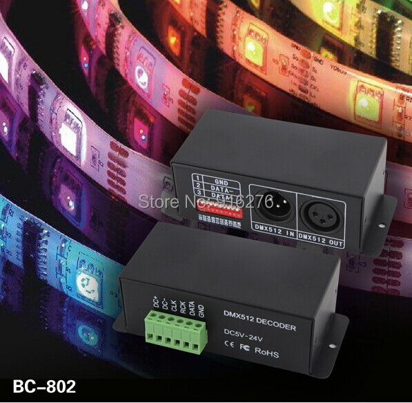 BC-802-2801 Led DMX DECODER DMX512 Decoder DC5-24V Drive IC WS2801 WS2803 Pixel led strip Module Full Color Controller<br>
