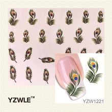 YZWLE Hot Sale 1 Sheet Green Peacock Feathers Watermark Sticker For Nail Art, DIY Water Transfer Decal Nail Tools