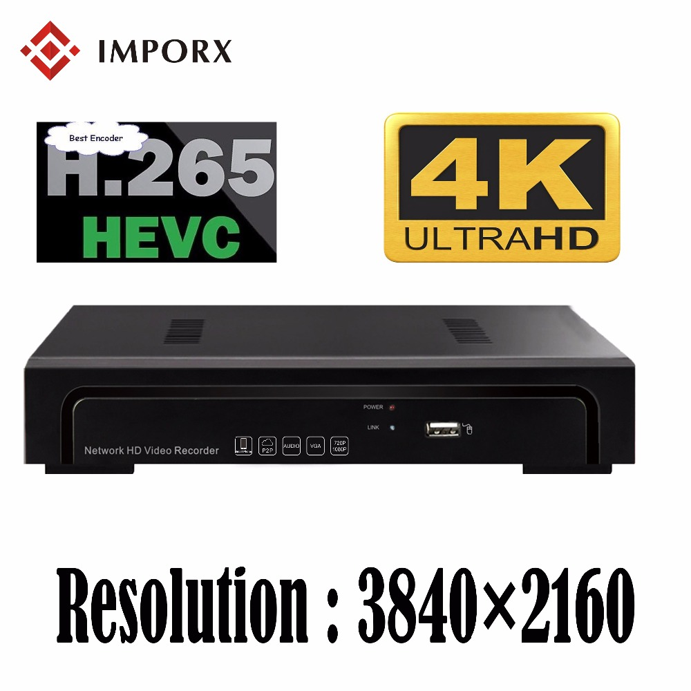 IMPORX H.265 CCTV IP Camera 4K NVR 4CH 8CH Security System Surveillance Video Recorder Support P2P Onvif 1 SATA HDD interfaces