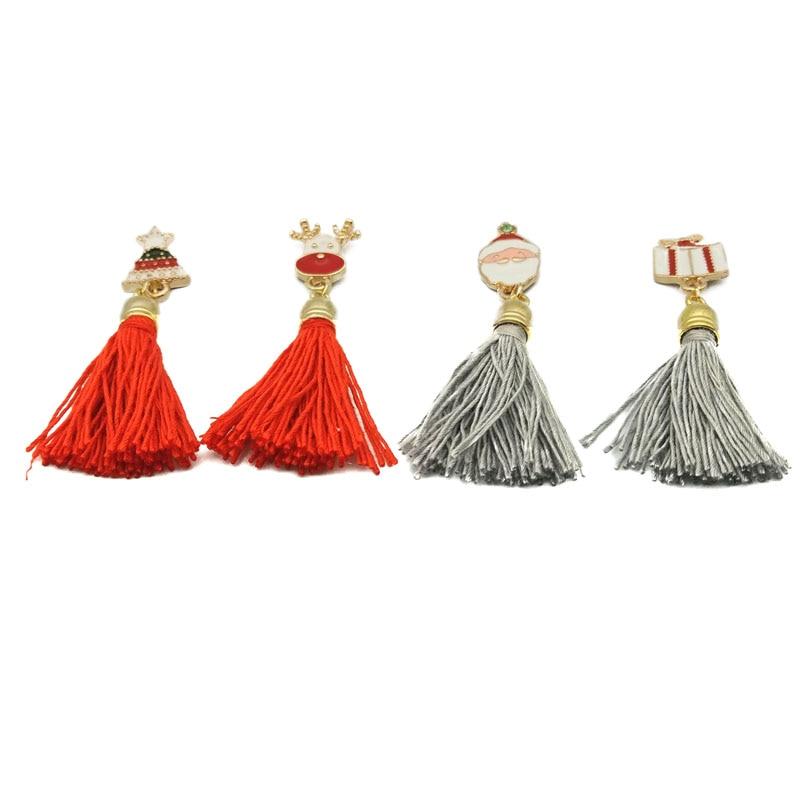 Lot 12 Pcs Christmas Xmas Gift Rhinestone Enamel  Cute Tree Gift Box Santa Elk Thread Tassel Brooch Jewelry Stud Button Brooches