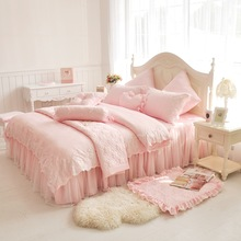 Pink Lace princess duvet cover queen king size 4pcs Girls solid color bedspread bedclothes bed skirts cotton bedding set luxury