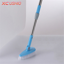 Telescopic Long Handle Floor Cleaning Brush Stainless Steel Kitchen Bathroom Wall Floor Cleaning Brush Household Cleaning Tools(China)