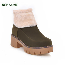 NEMAONE Autumn Winter Women Boots Casual Ladies shoes Martin boots Suede Leather ankle boots High heeled zipper Snow boot