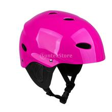 CE Approved Kayaking Canoeing Water Sports Lightweight Adjustable Safety Helmet with Ear Protection Cover M/L Green/ Rose