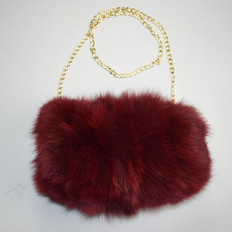 fox fur handmuff wine red 11