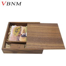 VBNM free LOGO walnut wood Photo Album usb + Box usb flash drive Memory card Pendrive 8GB 16GB for Photography Wedding gift