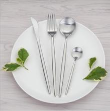18/10 Stainless Steel Silver Cutlery Set Luxury Matte Forks Knives Western Tableware Dinnerware 4pcs/set Service 1 Person