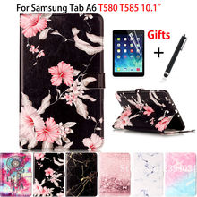 Marble Pattern Cover For Samsung Galaxy Tab A A6 10.1 2016 T580 T585 T580N Case Funda Tablet Book TPU+PU Leather Shell+Film +Pen(China)