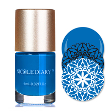 NICOLE DIARY 9ml Nail Art Stamping Polish Royal Blue Nail Art Varnish Polish for Beauty Nail Art Printing NS06(China)