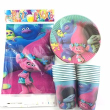 Trolls theme party supplies kids birthday decoration tablecloth  plates  cups cartoon trolls theme party supplies set  for 21pcs