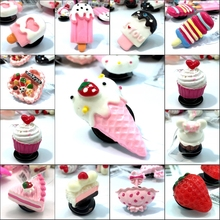 1pcs Lovely Cake and Ice Cream Resin Shoe Charms Accessories Fit Bands Bracelets Croc JIBZ,Kids Party favors/Gifts(China)