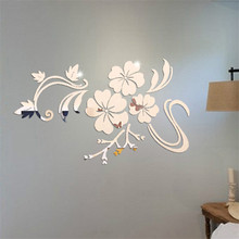 New Fashion Wall Flowers Rattan Stickers Gold Silver Acrylic 3D Mirror Flower Home Decor Vinyl Stickers For Children bedroom