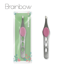 Brainbow 1pc Eyebrow Tweezer Stainless Steel Eyelash Extension Tweezers Eye Hair Removal Lady Face Makeup Tools Beauty Essential