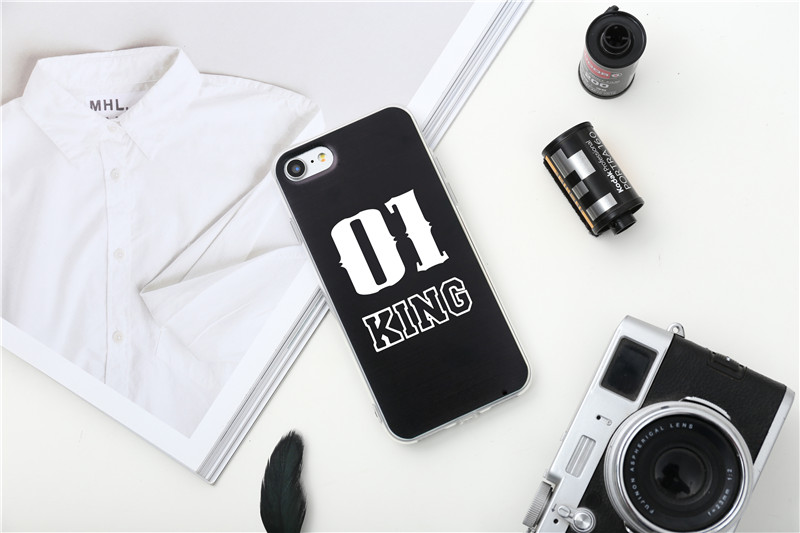 Valentine KING Queen Case for iPhone 6 Case for iPhone 5s 5 Cover Clear Silicone TPU Soft Phone Case for iPhone 8 7 6s Plus Cape 23