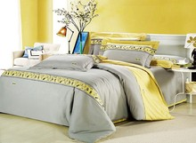 Romantic modern island vacation Gray and yellow 4pcs hotel bedspreads/bedding set Queen/King size 100% combed cotton/B2182