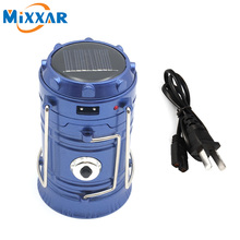 RUZK50 Rechargeable Camping Light Collapsible Solar Camping Lantern  Classic Style 6 LEDs Tent Lights for Outdoor Camping Hiking