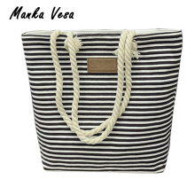 Manka Vesa Leisure Canvas Shopper Bag Striped Prints Beach Bags Tote Women Ladies Shoulder bag Casual Shopping Handbag Bolsa