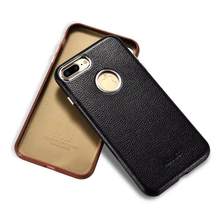 XOOMZ Leather Case for iPhone 7 Plus Stylish Hard Back Cover Case for iPhone 7 Hardcase Black Brown (Full Leather Edge, Durable)