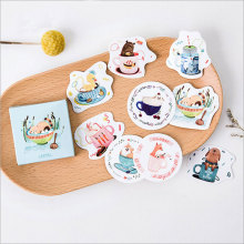 45 pcs/lot animal in the cup mini paper sticker Decoration DIY Scrapbooking Sticker Stationery kawaii diary label stickers