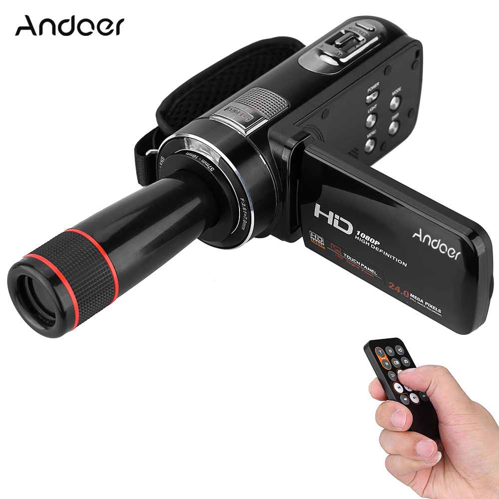 Andoer HDV-Z8 Digital Video Camera 1080P Full HD Camcorder 24MP 16x Digital Zoom w/ Rotation LCD Touch Screen 12x Telephoto Lens(China)