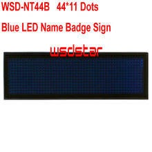 WSD-NT44B Blue LED Name Badge Sign Rechargeable Blue LED name tag led name badge 44*11 Temperature display function 2pcs/lot(China)