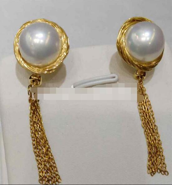 >>>>noble jewelry 11-12mm white baroque South Sea Pearl earrings 14k gold tassel