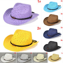 Kids simple beads summer straw sun hat fedoras Cowboy style boy girl topee cap 10 colors for 3-8 years 10pcs/lot BH300