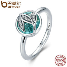 BAMOER High Quality Genuine 925 Sterling Silver Tree of Life Finger Rings for Women,Green AAA Zircon Engagement Jewelry SCR105(China)
