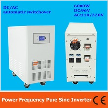 Power frequency 6000W pure sine wave solar inverter with charger DC96V to AC110V220V LCD AC by Pass AVR