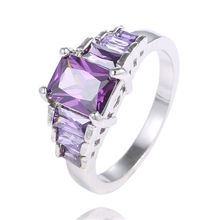 SHUANGR LOW PRICE 1pc Silver-Color AAA Square Purple Cubic Zirconia party finger rings For Women TC513/TA504/TG344
