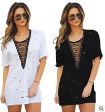 Amazon Ebay Fast Sell Hot, Sexy V Collar, Burn Flower, Corn Lace, Casual Dress Spot