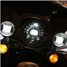 "7"" Motorcycle Adaptive Projector Daymaker Headlight with one pair 4.5"" LED fog passing Light For Harley"