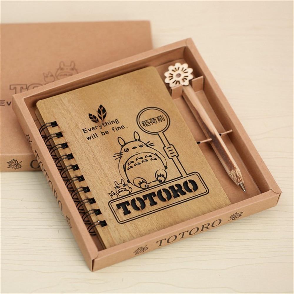 1pcs Creative Cute Cartoon Totoro Planner Notebook Diary Book Wooden Chinchilla School Supplies Gift <br>