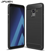 JFWEN For Samsung A8 2018 Case Silicone Soft TPU Luxury Carbon Fiber Phone Cases For Samsung Galaxy A8 2018 Case Back Cover(China)