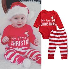 New Arrival Baby Girl Boy Christmas Dinner Clothes Wear Baby Christmas Rompers Santa Claus Cosplay Jumpsuit(China)