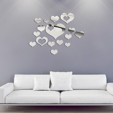 16PCS 2016 Special Durable  3D DIY Love Heart Mirror Surface Art Acrylic Wall Sticker Home Decal Decor Best Promotion