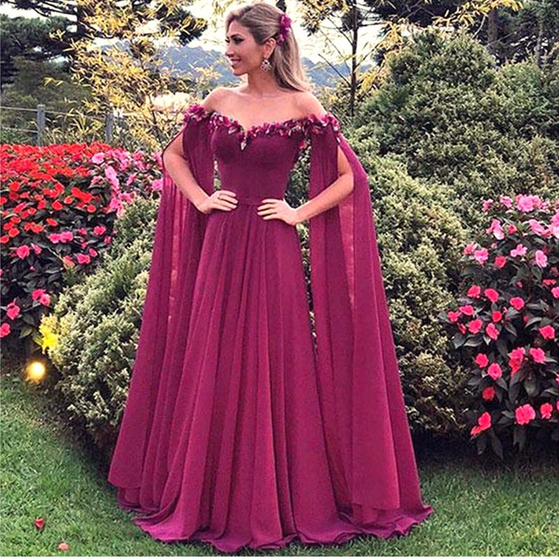 Custom-made Long Sleeve Evening Gown 2019 Flowers Chiffon Floor Length Off The Shoulder Formal Dress Arabic Gala Dress