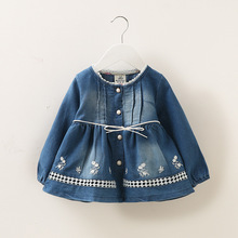 Autumn baby girls Coat Baby Girls Denim Jacket Classic floral Single-Breasted Infant Kids Casual Outerwear(China)