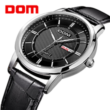 DOM Causal Men Wrist Watch Luxury Business Waterproof Double Calendar Stainless Leather Strap Wrist Watch For Male(China)