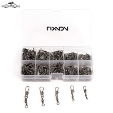200Pcs Fishing Barrel Swivel Brass Line Connector Solid Rings Interlock Snap Hooks In Box Fishing Tackle 5#/7#/9#/11#/13# Pesca