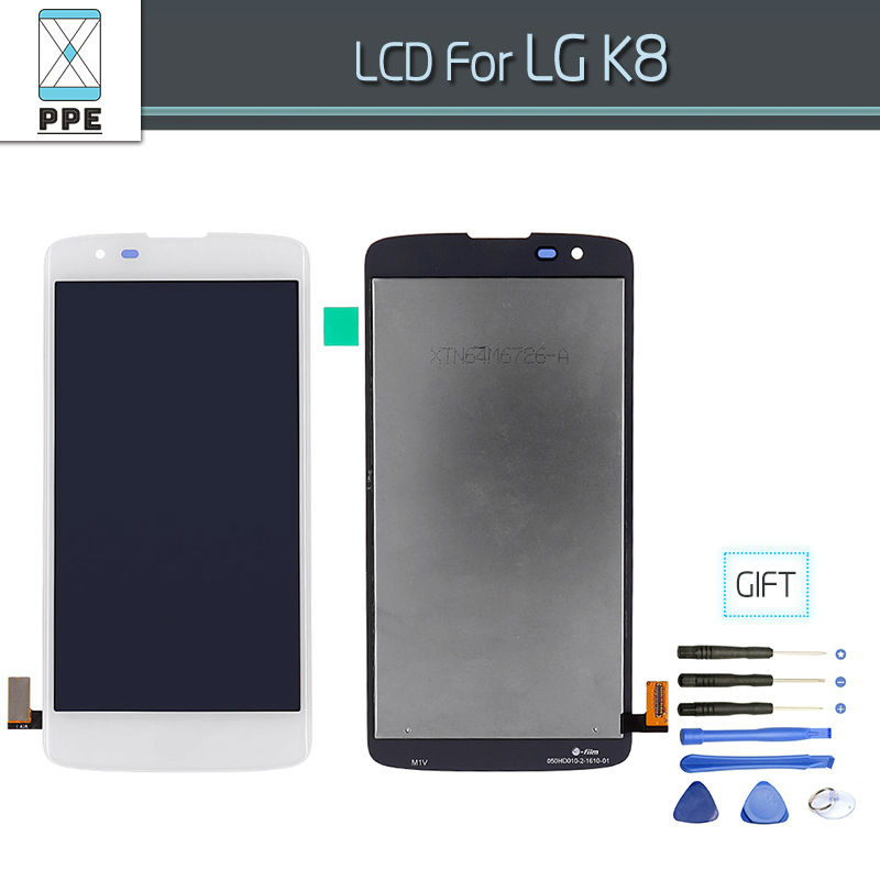 Original LCD For LG K8 K350N K350E K350DS LCD Display Complete Touch screen Digitizer Assembly Black White Free shipping+Tools<br>