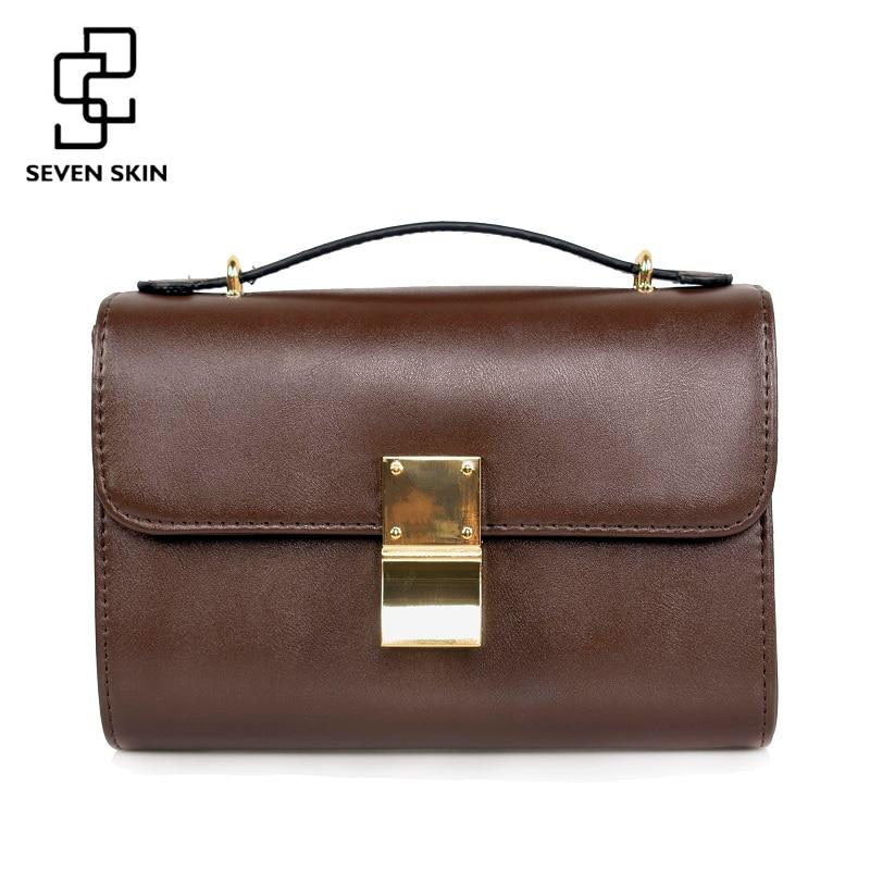 SEVEN SKIN Brand 2017 Solid Leather Women Messenger Bag Female High Quality Shoulder Bags Ladies Crossbody Bag Small Handbags<br>